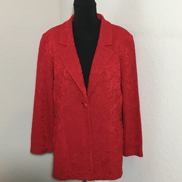 1e20a16527a NWT Misook Tailored Fit Blazer Textured Red Sz M